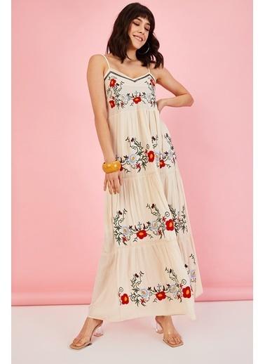 ESQ Önü Nakış Askılı Elbise Bej